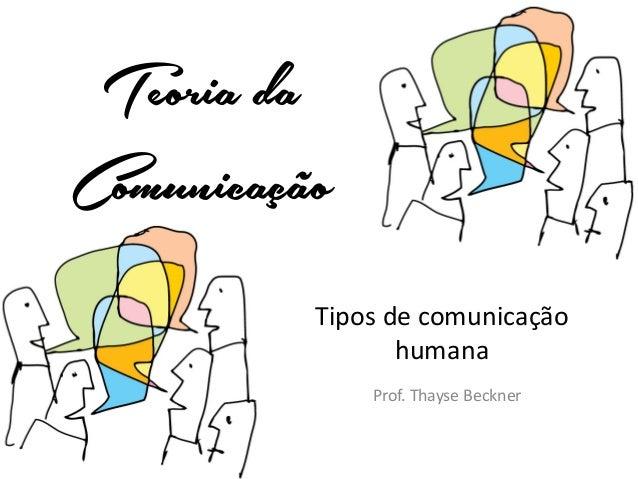 Teoria da Comunicação Tipos de comunicação humana Prof. Thayse Beckner