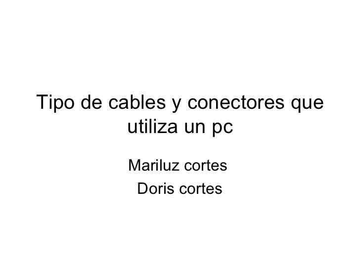 Tipo de cables y conectores que utiliza un pc Mariluz cortes  Doris cortes