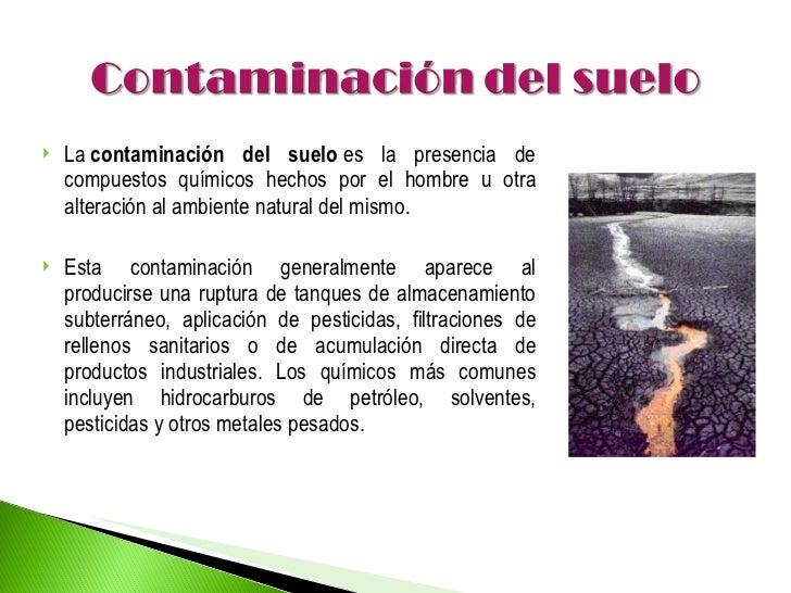 Informacion Sobre El Suelo Of Tipos De Contaminaci N