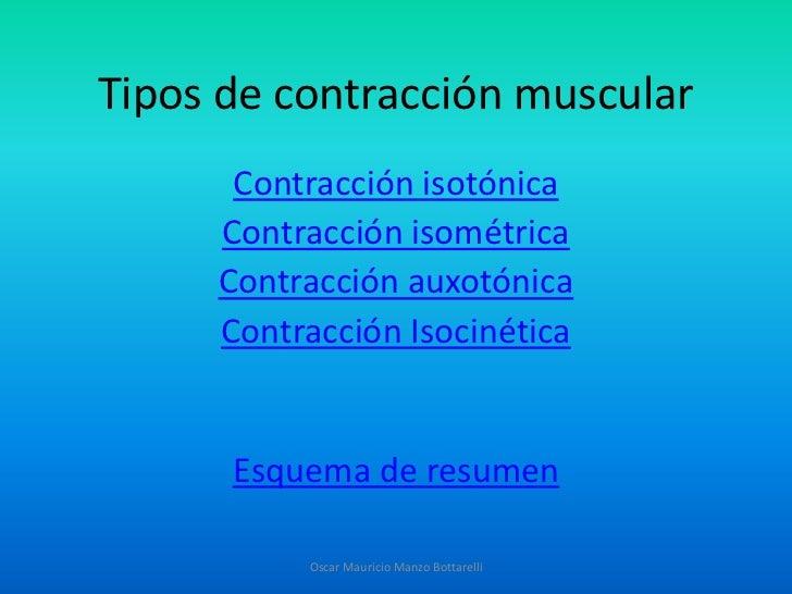 Tipos de contracción muscular      Contracción isotónica     Contracción isométrica     Contracción auxotónica     Contrac...