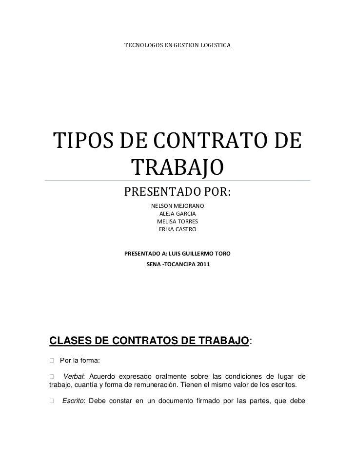Tipos de contrato de trabajo Contrato trabajo