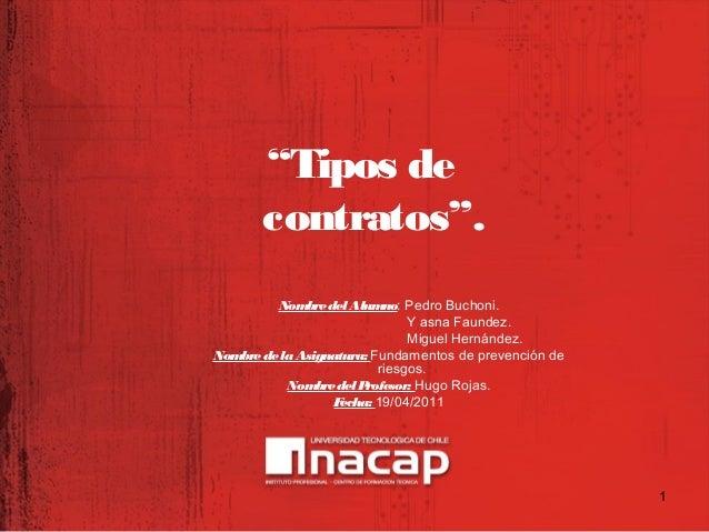 """""""Tipos de contratos"""". NombredelAlumno: Pedro Buchoni. Y asna Faundez. Miguel Hernández. NombredelaAsignatura: Fundamentos ..."""