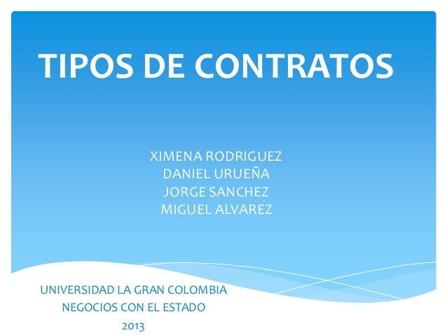 TIPOS DE CONTRATOS XIMENA RODRIGUEZ DANIEL URUEÑA JORGE SANCHEZ MIGUEL ALVAREZ UNIVERSIDAD LA GRAN COLOMBIA NEGOCIOS CON E...