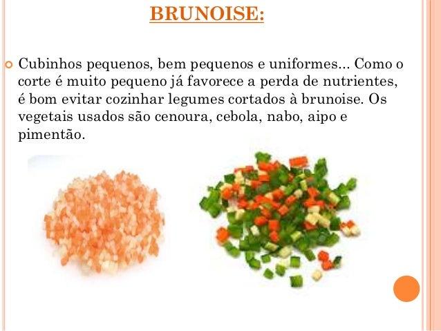tipos de cortes de legumes