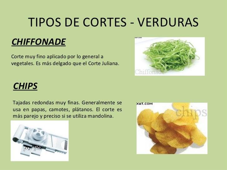 tipos de cortes verduras