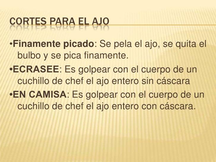Ejemplos de Cortes en zanahorias y en papas<br />