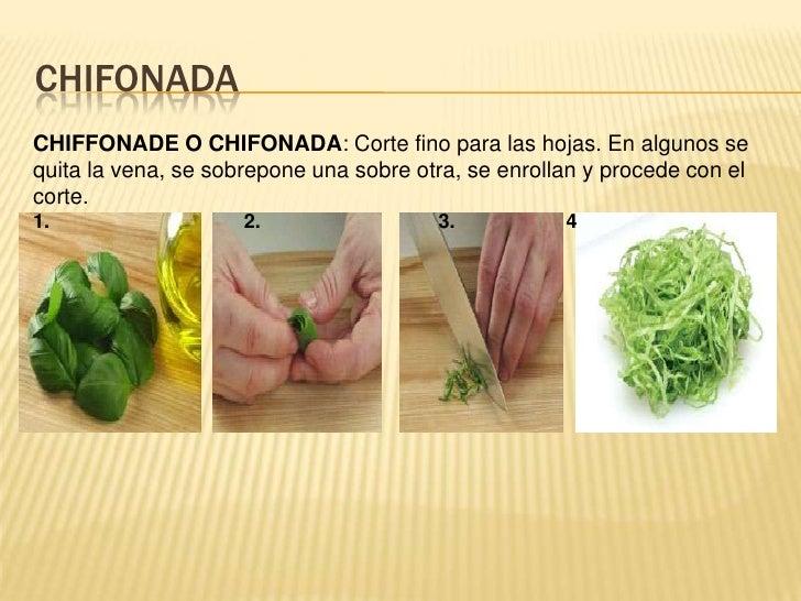 chifonada<br />CHIFFONADE O CHIFONADA: Corte fino para las hojas. En algunos se quita la vena, se sobrepone una sobre otra...