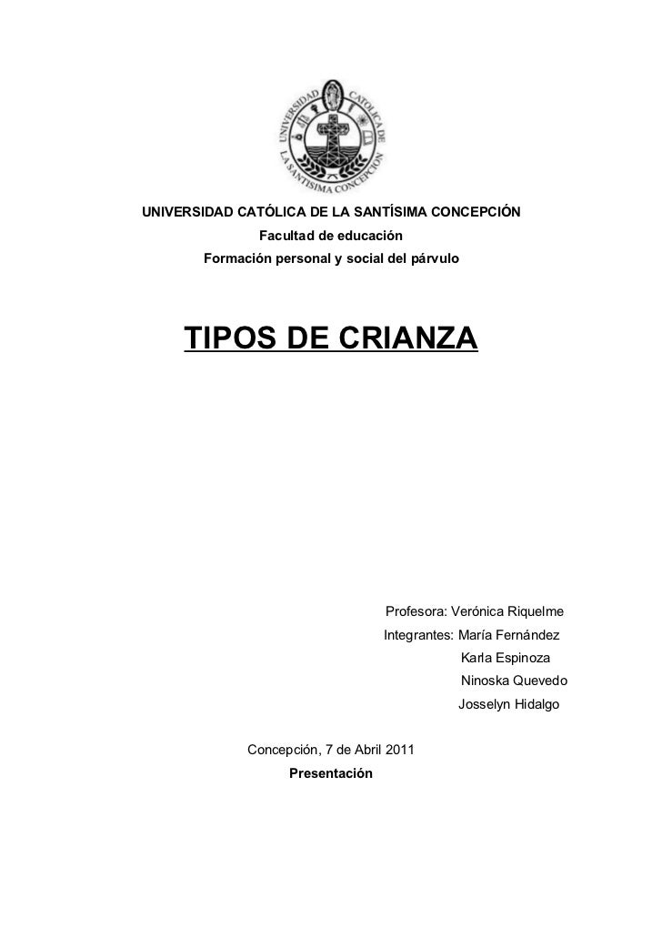 UNIVERSIDAD CATÓLICA DE LA SANTÍSIMA CONCEPCIÓN               Facultad de educación       Formación personal y social del ...