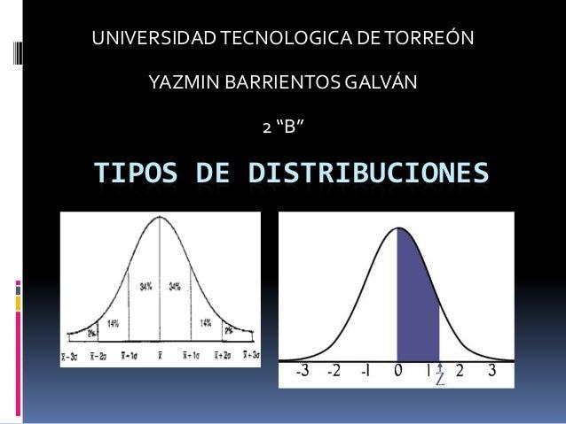 """UNIVERSIDAD TECNOLOGICA DE TORREÓN     YAZMIN BARRIENTOS GALVÁN               2 """"B""""TIPOS DE DISTRIBUCIONES"""