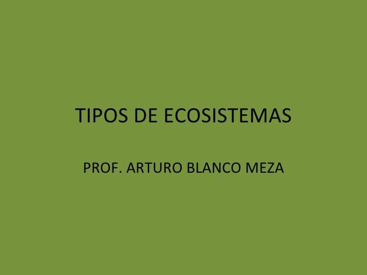 TIPOS DE ECOSISTEMAS PROF. ARTURO BLANCO MEZA