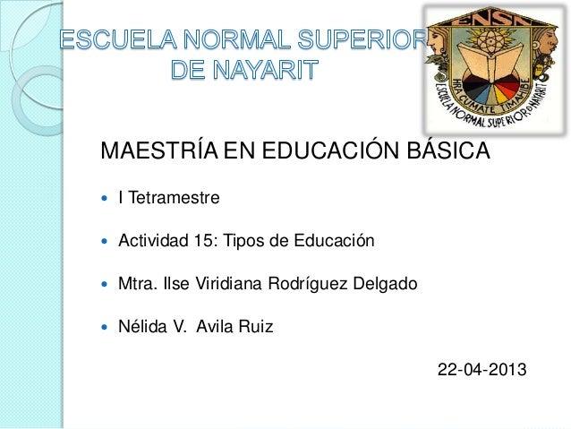 MAESTRÍA EN EDUCACIÓN BÁSICA   I Tetramestre   Actividad 15: Tipos de Educación   Mtra. Ilse Viridiana Rodríguez Delgad...
