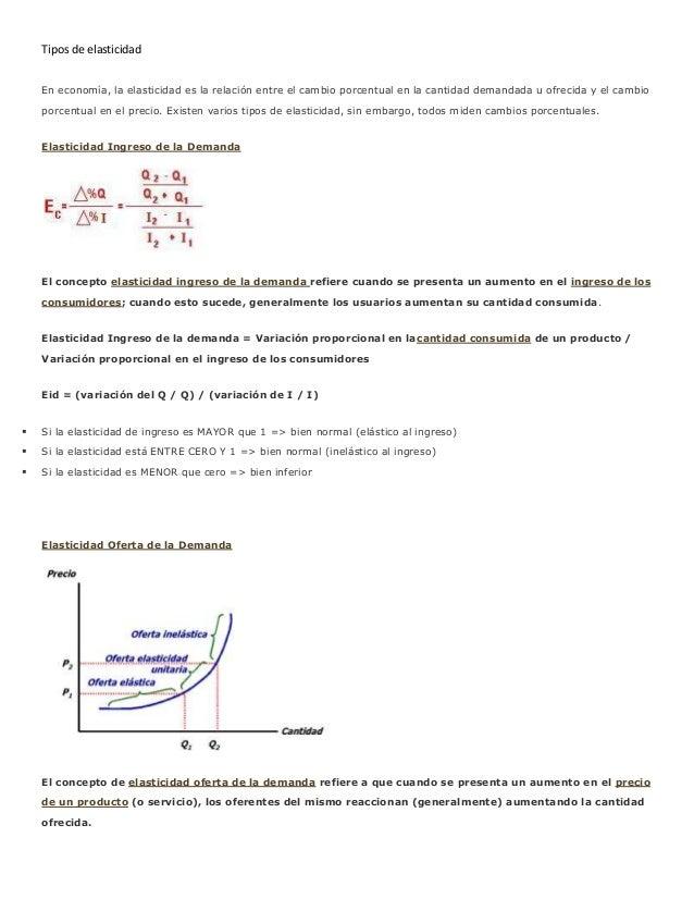 Tipos de elasticidad    En economía, la elasticidad es la relación entre el cambio porcentual en la cantidad demandada u o...