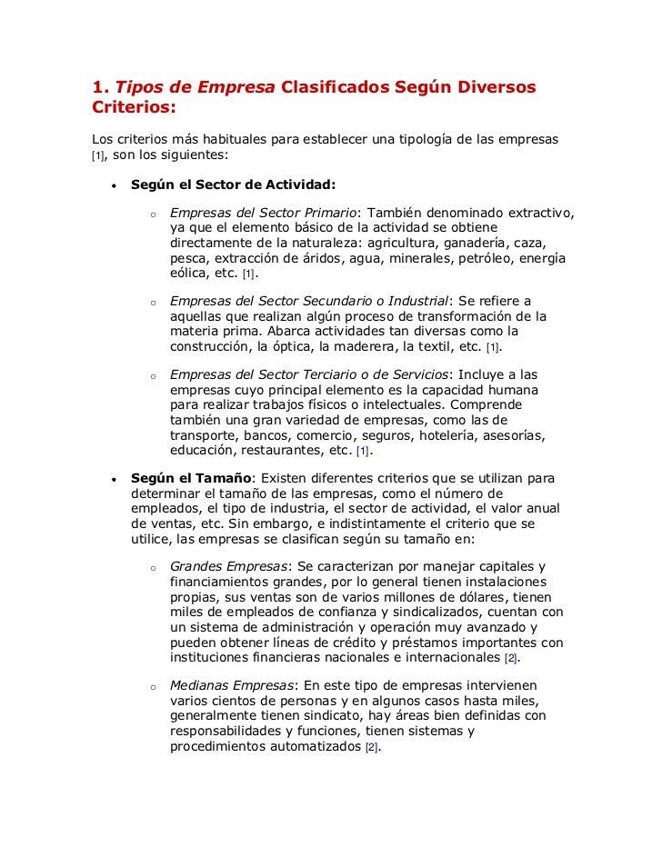 1. Tipos de Empresa Clasificados Según DiversosCriterios:Los criterios más habituales para establecer una tipología de las...