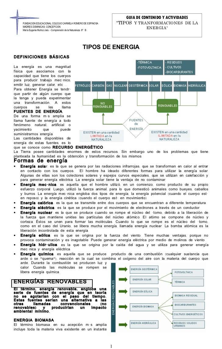 """GUIA DE CONTENIDO Y ACTIVIDADES     FUNDACION EDUCACIONAL COLEGIO CARMELA ROMERO DE ESPINOSA           """"TIPOS Y TRANFORMAC..."""