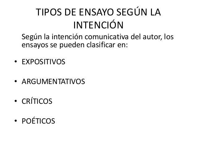 TIPOS DE ENSAYO SEGÚN LA            INTENCIÓN Según la intención comunicativa del autor, los ensayos se pueden clasificar ...