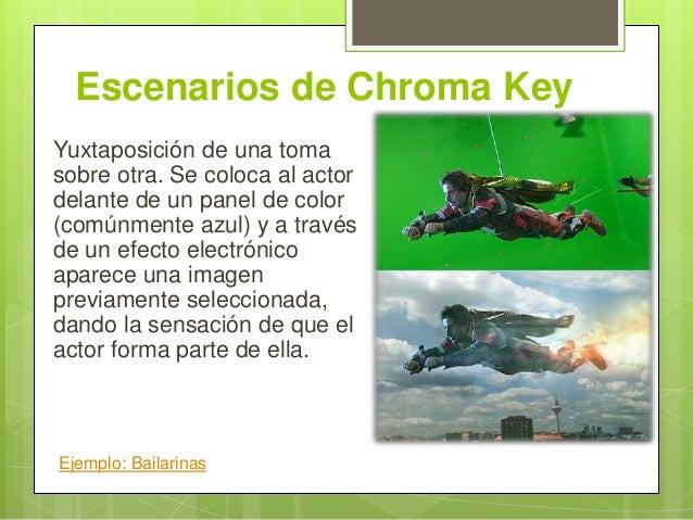 Escenarios de Chroma Key Yuxtaposición de una toma sobre otra. Se coloca al actor delante de un panel de color (comúnmente...