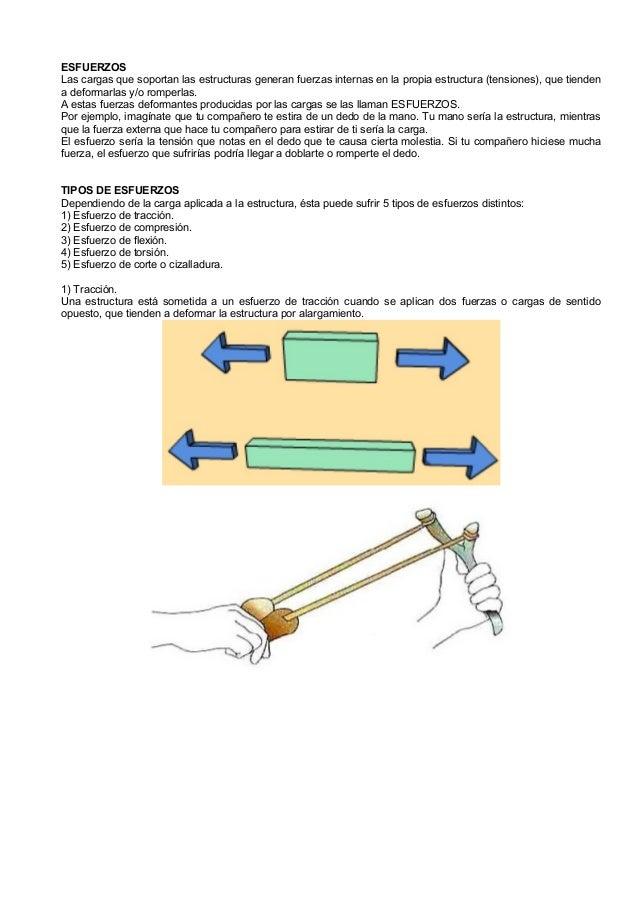 ESFUERZOSLas cargas que soportan las estructuras generan fuerzas internas en la propia estructura (tensiones), que tienden...