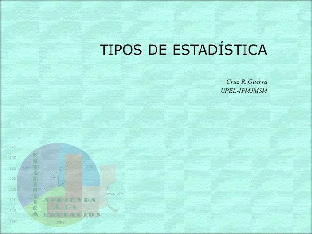 TIPOS DE ESTADÍSTICA Cruz R. Guerra UPEL-IPMJMSM