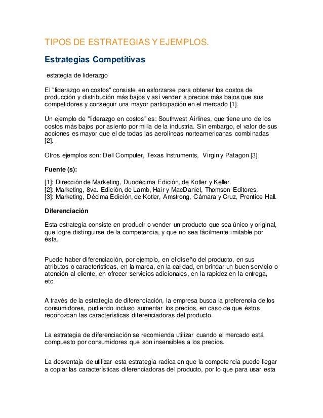 Tipos de estrategias y ejemplos
