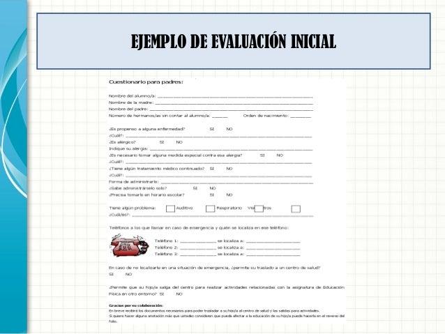 EJEMPLO DE EVALUACIÓN INICIAL