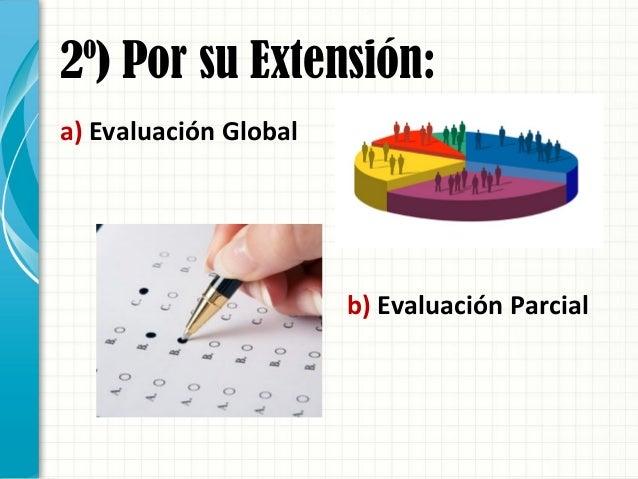 2º) Por su Extensión: a) Evaluación Global b) Evaluación Parcial