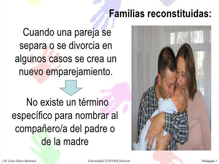 Familias reconstituidas: Cuando una pareja se separa o se divorcia en algunos casos se crea un nuevo emparejamiento. No ex...