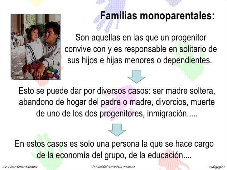 Familias monoparentales:  Son aquellas en las que un progenitor convive con y es responsable en solitario de sus hijos e h...