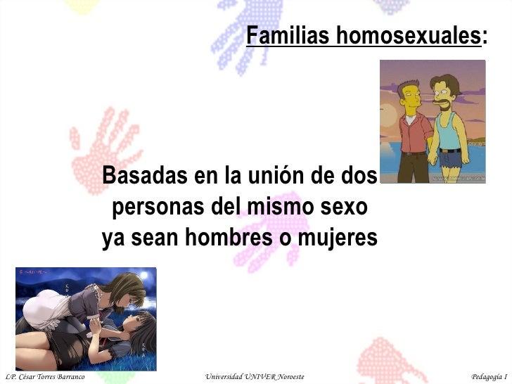 Familias homosexuales :  Basadas en la unión de dos personas del mismo sexo ya sean hombres o mujeres  LP. César Torres Ba...