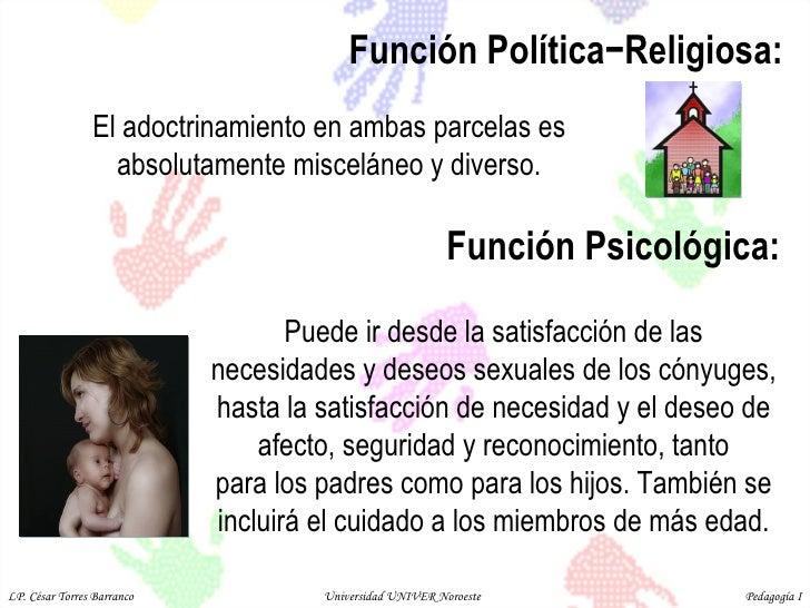 Función Política−Religiosa:  Puede ir desde la satisfacción de las necesidades y deseos sexuales de los cónyuges, hasta la...