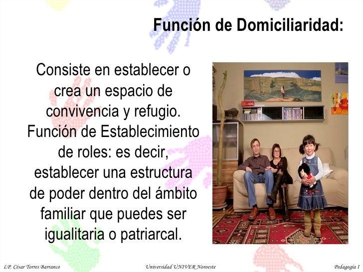 Función de Domiciliaridad:  Consiste en establecer o crea un espacio de convivencia y refugio. Función de Establecimiento ...