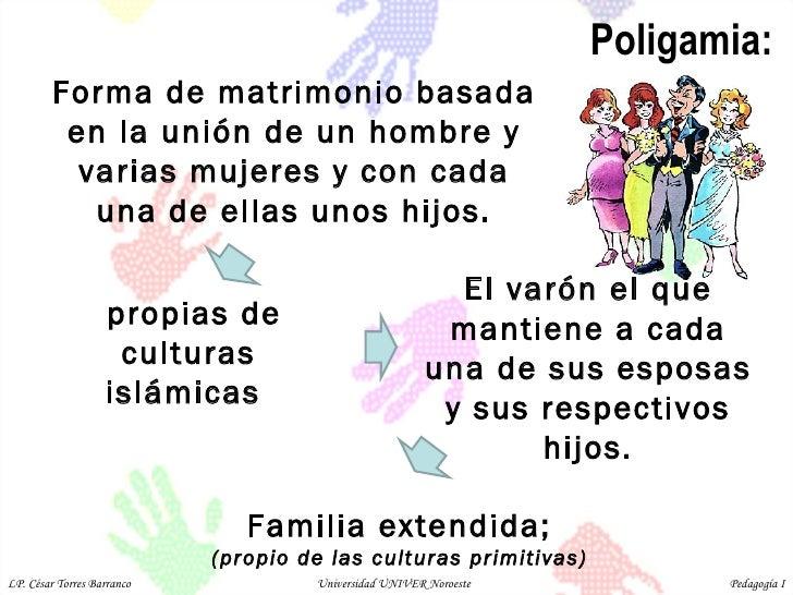 Poligamia: Forma de matrimonio basada en la unión de un hombre y varias mujeres y con cada una de ellas unos hijos. propia...