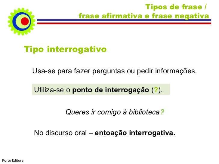 Tipos de frase /  frase afirmativa e frase negativa Tipo interrogativo Usa-se para fazer perguntas ou pedir informações. U...