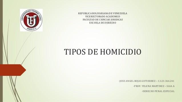 REPUBLICA BOLIVARIANA DE VENEZUELA VICERECTORADO ACADEMICO FACULTAD DE CIENCIAS JURIDICAS ESCUELA DE DERECHO TIPOS DE HOMI...