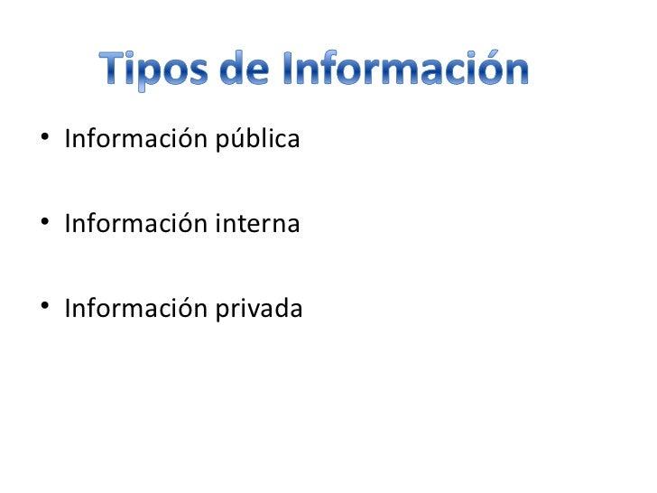 <ul><li>Información pública </li></ul><ul><li>Información interna  </li></ul><ul><li>Información privada </li></ul>