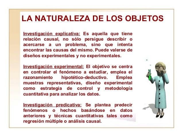 LA NATURALEZA DE LOS OBJETOS  Investigación explicativa:  Es aquella que tiene relación causal, no sólo persigue describir...