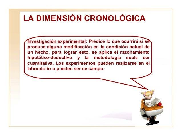 LA DIMENSIÓN CRONOLÓGICA  Investigación experimental : Predice lo que ocurrirá si se produce alguna modificación en la con...