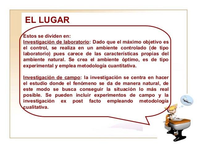 EL LUGAR  Estos se dividen en:  Investigación de laboratorio : Dado que el máximo objetivo es el control, se realiza en un...