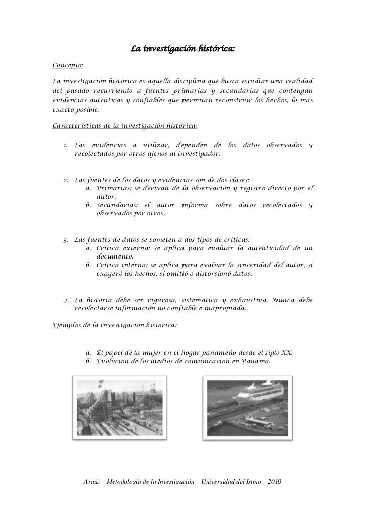 La investigación histórica:<br />Concepto: <br />La investigación histórica es aquella disciplina que busca estudiar una r...