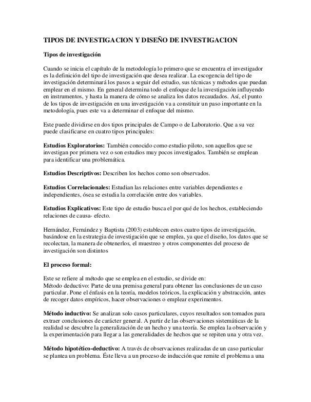 28a482443 TIPOS DE INVESTIGACION Y DISEÑO DE INVESTIGACION Tipos de investigación  Cuando se inicia el capítulo de ...