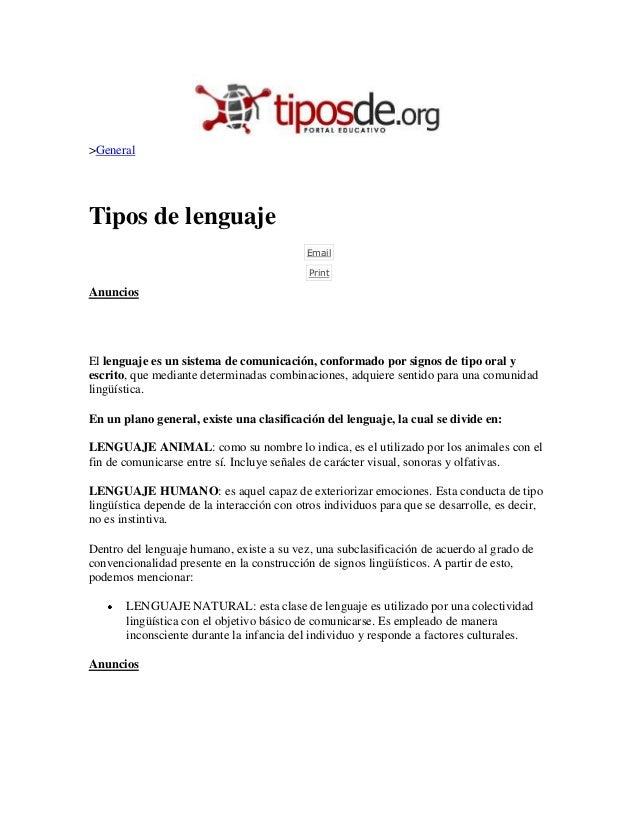 >GeneralTipos de lenguaje                                            Email                                            Prin...