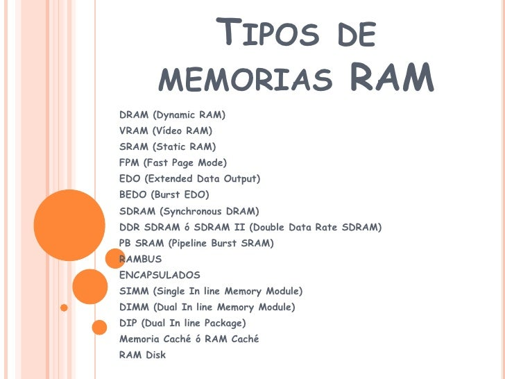 Tipos de memorias RAM<br />DRAM (Dynamic RAM) <br />VRAM (Vídeo RAM) <br />SRAM (Static RAM) <br />FPM (Fast Page Mode) <b...