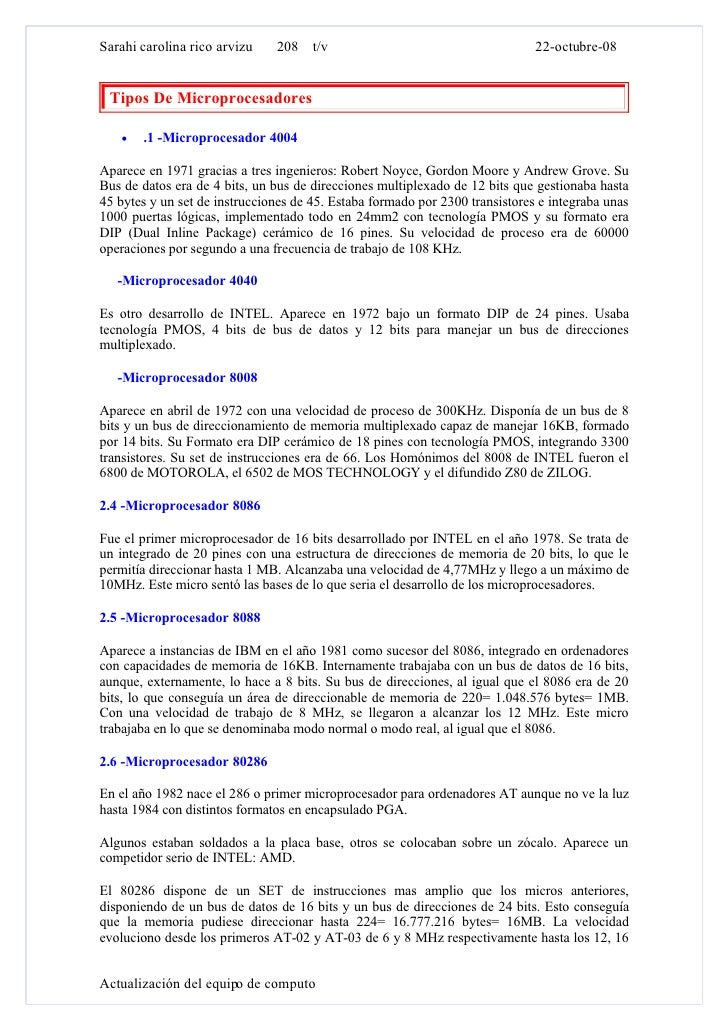 Sarahi carolina rico arvizu    208 t/v                                        22-octubre-08    Tipos De Microprocesadores ...