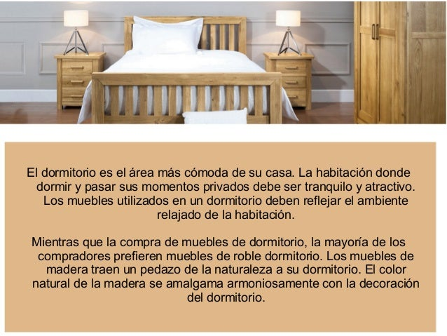 Tipos de muebles de dormitorio de roble