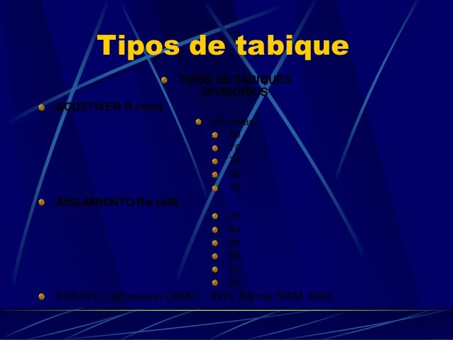 Tipos de tabique  TIPOS DE TABIQUES DIVISORIOS  ACUSTIVER R (mm)  sin aislac.  50  70  70  50  70  AISLAMIENTO Rw (dB)  38...