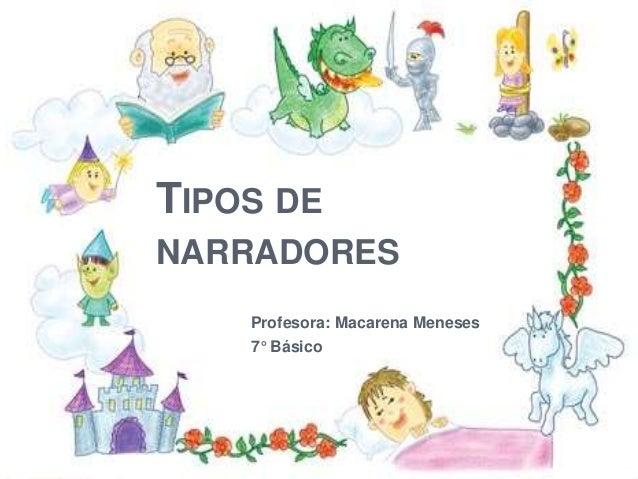 TIPOS DE NARRADORES Profesora: Macarena Meneses 7° Básico