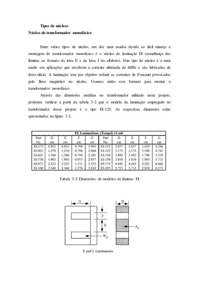 Tipos de núcleos Núcleo do transformador monofásico Entre vários tipos de núcleo, um dos mais usados devido ao fácil manej...