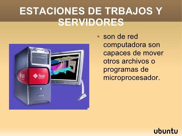 ESTACIONES DE TRBAJOS Y SERVIDORES <ul><li>son de red computadora son capaces de mover otros archivos o programas de micro...