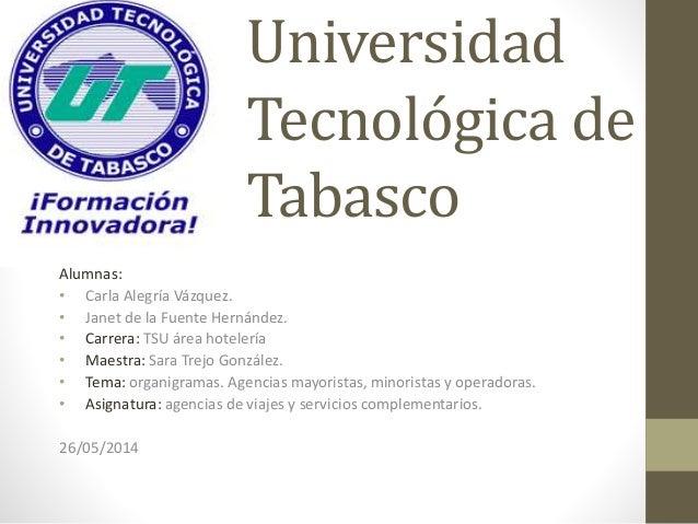 Universidad Tecnológica de Tabasco Alumnas: • Carla Alegría Vázquez. • Janet de la Fuente Hernández. • Carrera: TSU área h...