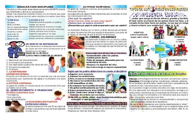 EDUCAR CON DISCIPLINA Para que un niño pueda desarrollarse sanamente NECESITA conocer sus habilidades y afirmar su personal...