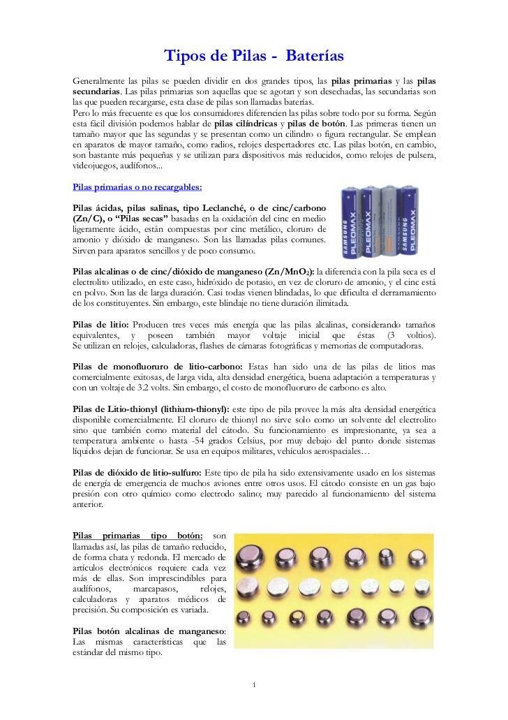 Tipos de pilas - Tipos de pilas recargables ...
